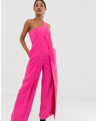 53e0cb0b2b59 Lavish Alice - One Shoulder Wrap Over Wide Leg Jumpsuit In Pink - Lyst