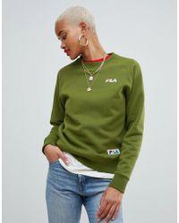 Fila - Oversized Boyfriend Sweatshirt With Woven Chest Logo - Lyst