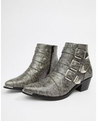 Pieces - Snake Effect Buckle Ankle Boot - Lyst