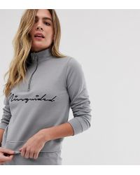 Missguided - Loungewear Set With High Neck Zip Front Top / Short In Grey - Lyst