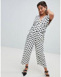 d750d3a35995 ASOS - Spot Print Print Tea Jumpsuit In Linen Look With Side Tie Detail -  Lyst