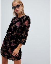 New Look - Velvet Burnout Tunic Dress - Lyst
