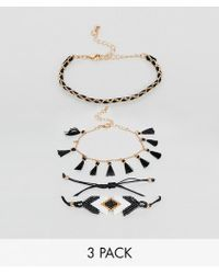 River Island - Bracelets In 3 Pack With Tassel Details - Lyst