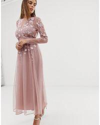 ASOS Long Sleeve Embroidered Midi Dress