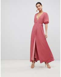 Fashion Union - Wrap Front Maxi Dress With Balloon Sleeves - Lyst