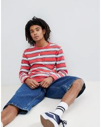Brixton - Hilt Washed Long Sleeve Striped T-shirt With Pocket - Lyst