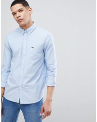 Lacoste - Oxford Logo Shirt In Sky Blue - Lyst