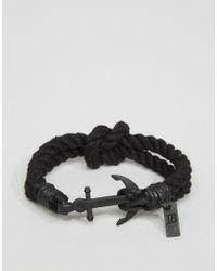 Icon Brand - Anchor Woven Bracelet In Black - Lyst