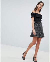 Missguided - Polka Dot Popper Detail Skater Skirt - Lyst