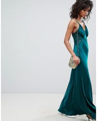 Ghost - Satin Maxi Cami Dress With Lace Inserts - Lyst