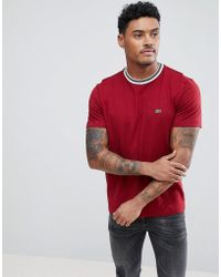 Lacoste - Tipped Ringer T-shirt In Burgundy - Lyst