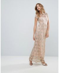 6b7c9366cc53 Oasis Rose Print Angel Sleeve Maxi Dress in Pink - Lyst