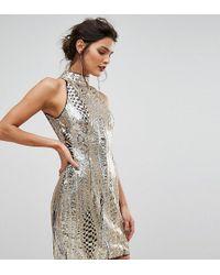 TFNC London - High Neck Mini Dress In Gold Sequin - Lyst
