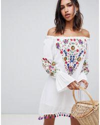 Raga - Wild Flower Embroidered Off Shoulder Dress - Lyst