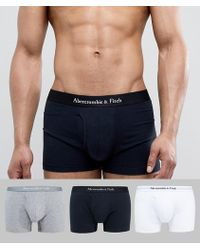 Abercrombie & Fitch - 3 Pack Core Trunks Logo Waistband In White/grey/black - Lyst