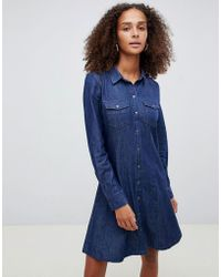 ONLY - Button Through Denim Shirt Dress - Lyst