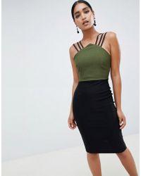 Vesper - Colour Block Pencil Dress With Strappy Detail - Lyst