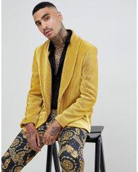 ASOS - Relaxed Blazer In Pleated Mustard Velvet - Lyst
