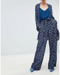 Gestuz - Small Flower Print Wide Leg Trousers - Lyst