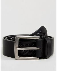 ASOS - Wide Belt In Black Faux Leather With Plait Detail - Lyst