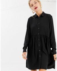 Stradivarius - Basic Shirt Dress In Black - Lyst