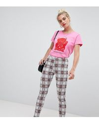 Daisy Street - High Waist Slim Pants In Check - Lyst