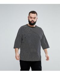 ASOS - Plus Oversized Stripe T-shirt With Distressing - Lyst