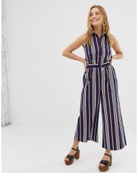 471397f78809 ASOS - Button Front Collar Culotte Jumpsuit In Stripe - Lyst