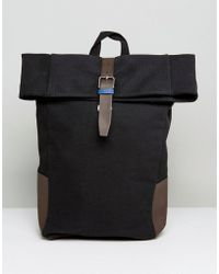 New Look - Roll Top Backpack In Black - Lyst