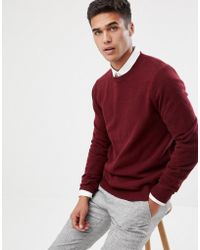 ASOS - Lambswool Sweater In Burgundy - Lyst