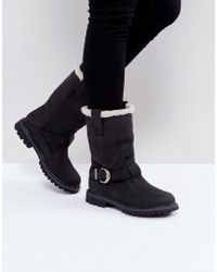 Timberland | Nellie Black Faux Shearling Lined Biker Boots | Lyst
