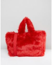 Monki - Teddy Bear Fur Bag - Lyst