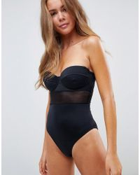ASOS - Recycled Mesh Insert Underwired Cupped Swimsuit In Black - Lyst