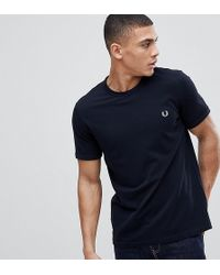 Fred Perry - Pique Logo Crew Neck T-shirt In Navy - Lyst