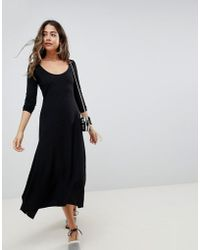 ASOS - Scoop Neck Rib Midi Dress With Asymmetric Skirt - Lyst
