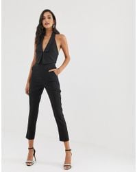 Lavish Alice - Double Layer Tuxedo Jumpsuit With Satin Lapel In Black - Lyst