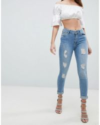 Forever Unique - Light Wash Jeans With Rips - Lyst