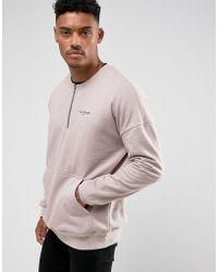 Illusive London - Sweatshirt In Stone With Half Zip - Lyst