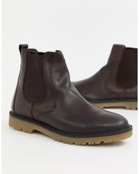 Pull&Bear - Leather Chelsea Boot With Chunky Sole In Brown - Lyst