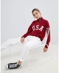 Daisy Street - High Neck Sweatshirt With Usa Print - Lyst