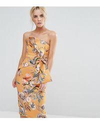 ASOS | Floral Fold Bow Front Bandeau Scuba Midi Dress | Lyst