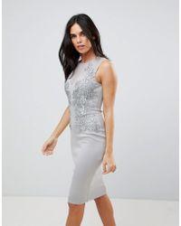 AX Paris - Applique Detial Scuba Bodycon Dress - Lyst