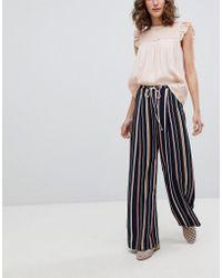 Suncoo - Wide Leg Striped Trousers - Lyst
