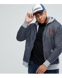 Tommy Hilfiger - Plus Full Zip Hoodie H Applique In Dark Blue Marl - Lyst