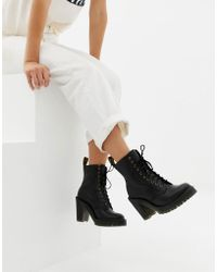 Dr. Martens - Kendra Black Leather Heeled Ankle Boots - Lyst