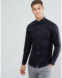 SELECTED - Slim Shirt With Tipped Collar - Lyst