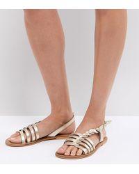 4d50c670c4fc ASOS - Asos Flattered Leather Plaited T-bar Flat Sandals - Lyst