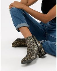 Vero Moda - Gold Floral Ankle Boots - Lyst