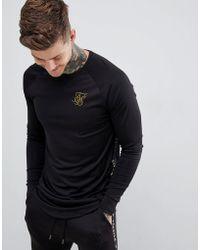 SIKSILK - Sweatshirt In Black With Gold Side Stripe - Lyst