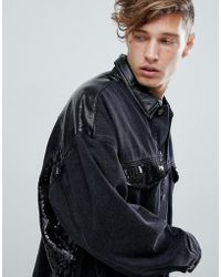 ASOS Oversized Denim Jacket With Vinyl And Sequin Panels In Black